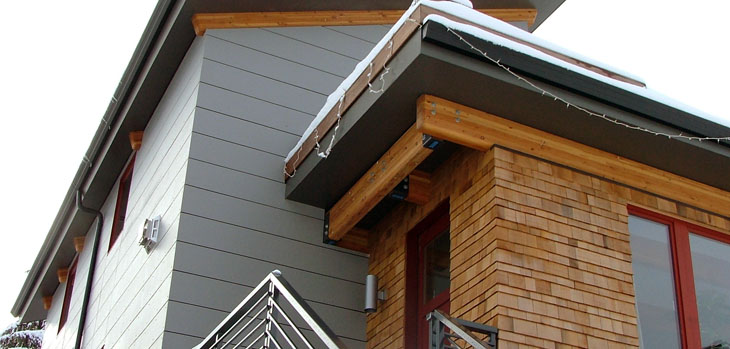 sustainable modern home exterior with cedar siding and hardie panel rainscreen