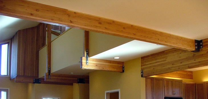 Exposed Glulam Beams ~ Lee edwards residential design modern home interior