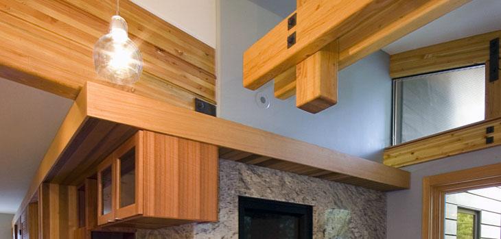Lee Edwards   Residential Design   Modern Inglenook With Fir Beams, Lyptus  Cabinets, Granite Slab Fireplace Surround And Sophie Refer Pendant Lights